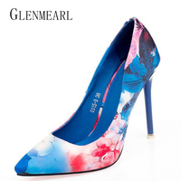 2018 New High heeled Pumps Women Shoes High Heels Blue Orange Printing Shallow Mouth Thin Heel Pointed Toe Shoes For Women ZK35