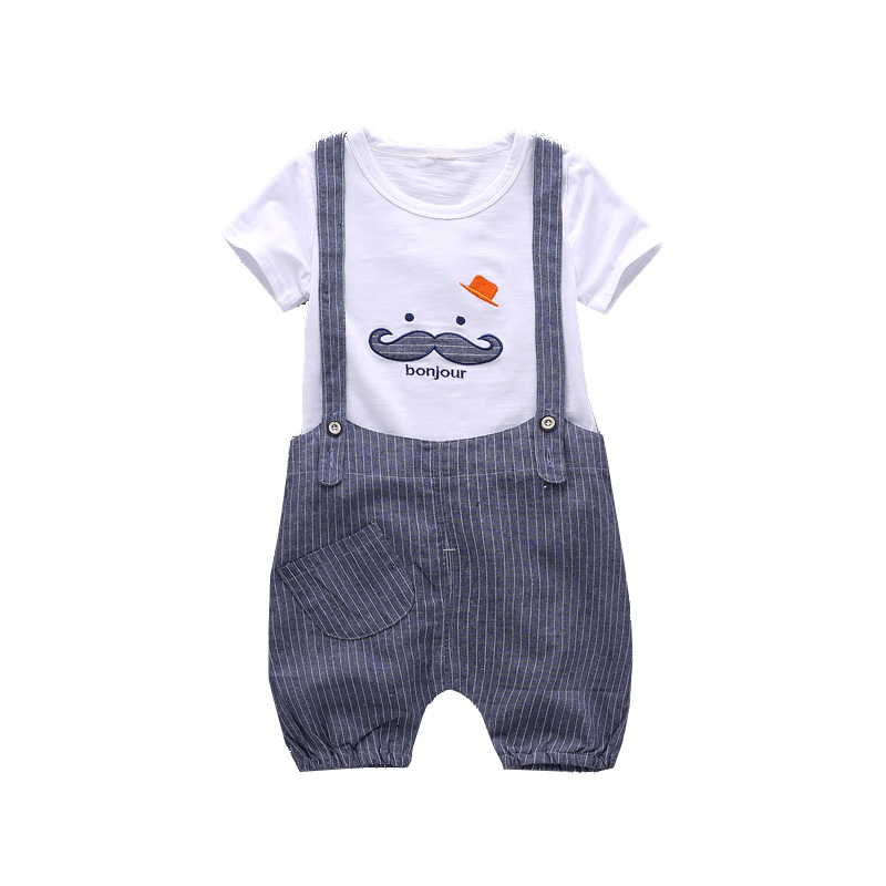 2018 New Baby Summer Boys Girls Cotton Set Children T Shirt Bib Rompers 2 Pcs Clothing Suit Infant BoyTracksuit Kids Clothes summer baby boys clothing set cotton animal print t shirt striped shorts sports suit children girls cartoon clothes kids outfit