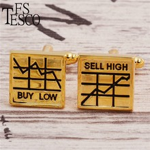 Fstesco The stock cufflinks buy low sell high French cufflinks gold silver colors Get a lot of money Stock fan best gift(China)