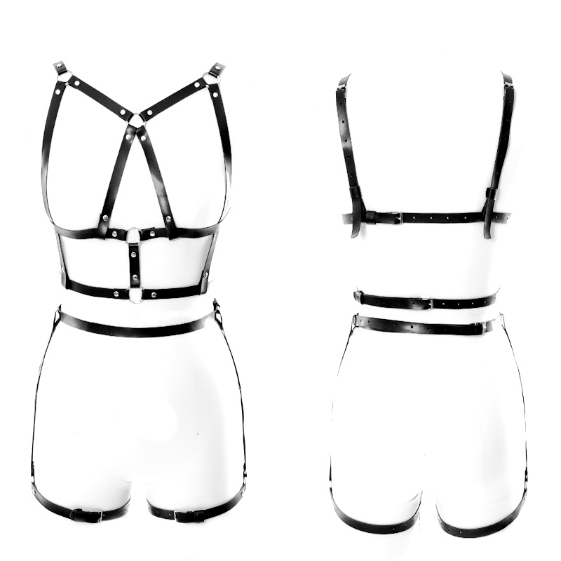 Goth Plus Size Leather Harness Sexy Black Adjustable Chest
