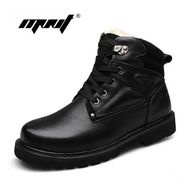 Venda quente de Inverno Super Quentes Homens Botas de Neve Ankle Boots De Couro Macio Plus Size À Prova D' Água Sapatos de Inverno