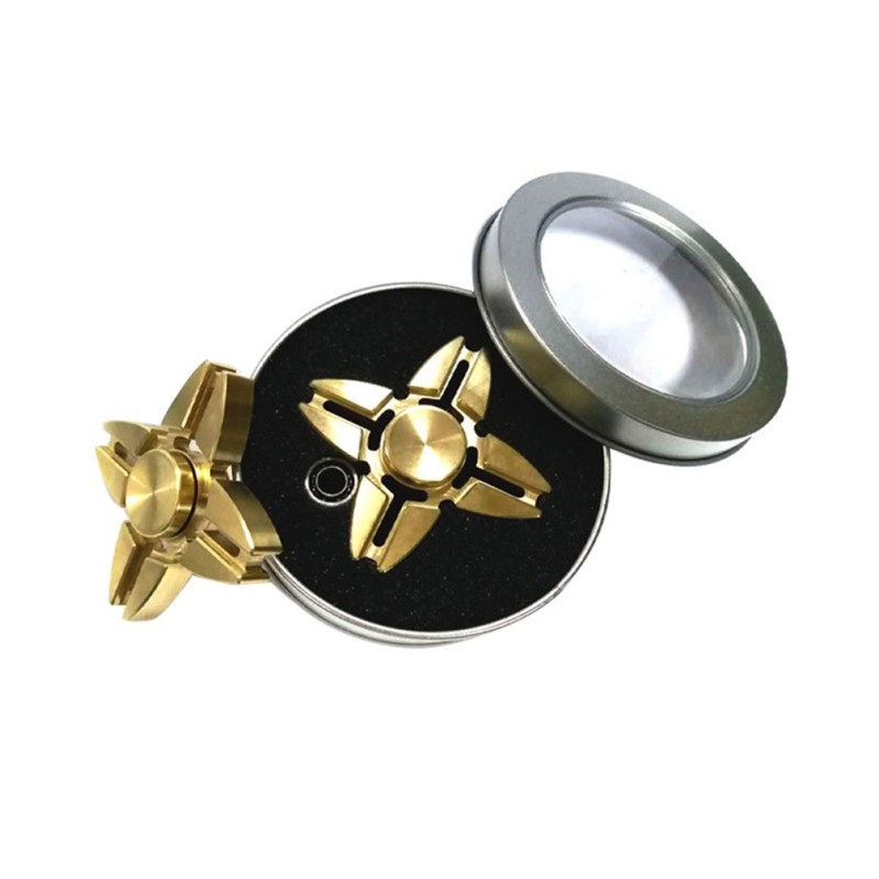 High Quality Gold Fidget Hand Spinner Finger Tri-Spinner Metal Spinner For Autism ADHD Anxiety Stress Toy Gift