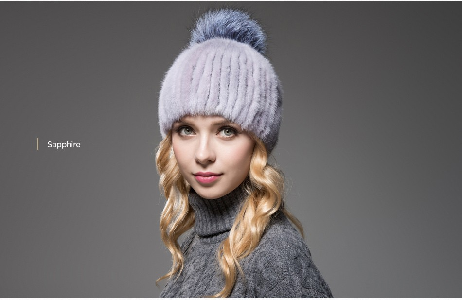 mink fur winter hats for women PCM010 (16)