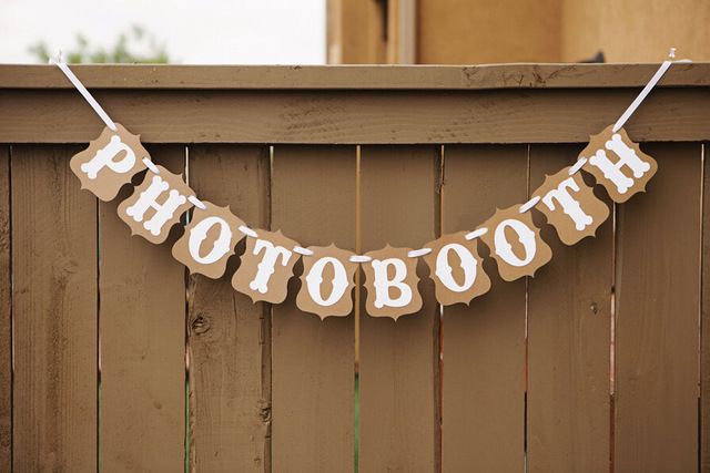 Vintage Wedding Letter Banner Bunting Photo Booth Garland Photobooth Props For