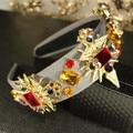 Luxury runway gem rhinestone crown fashion queen tiaras headwear women alloy crystal wide hair hoop jewelry accessories bridal