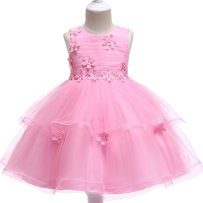 Summer   flower     girl     dresses   for weddings birthday kids   girl   clothes children clothing 3 4 5 6 7 8 9 10 year baby costume L5063