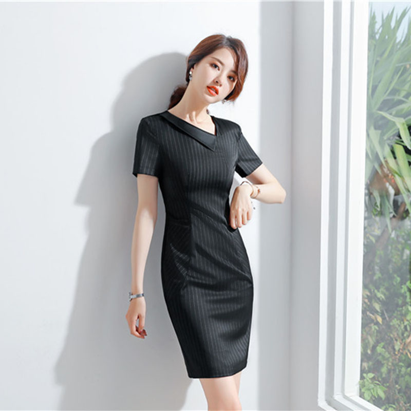 Women Work Wear Women's Stripe Business Dress Knee Short-Sleeved With Ribbon Belt Drop Shipping