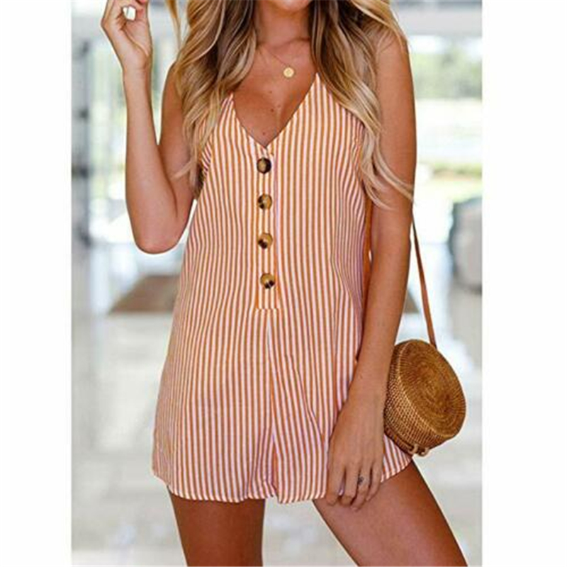 Women Casual Striped Playsuit Rompers Beach Short Overalls Korean Style 2019 Summer Holiday Fashion Ladies Button Clothes NEW