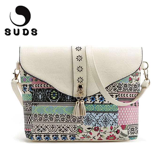 SUDS Fashion Printing Women Crossbody Bags Messenger Small Floral High Quality Shoulder Bags For Women 2017 Vintage Sac A Main