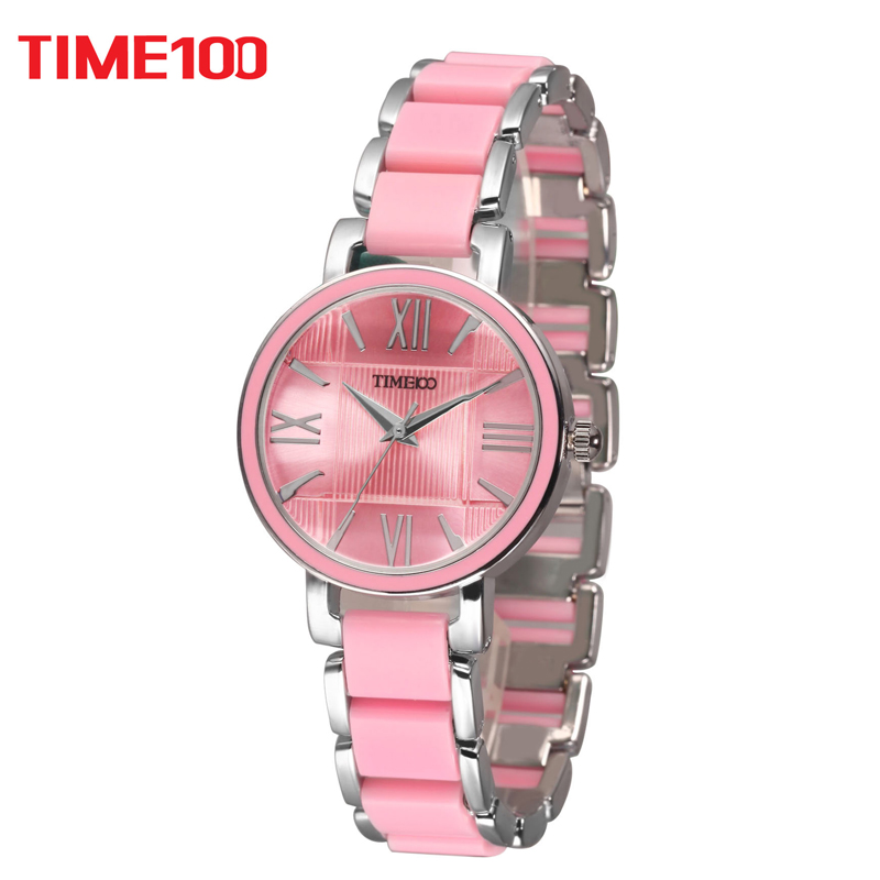 где купить TIME100 Women's Quartz Watches Pink Simulated Ceramic Bracelet Watch waterproof Ladies Casual Watch XFCS relogios femininos по лучшей цене
