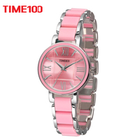 2016 TIME100 Women S Quartz Watches Pink Simulated Ceramic Bracelet Watch Hours Ladies Casual Watch Clock