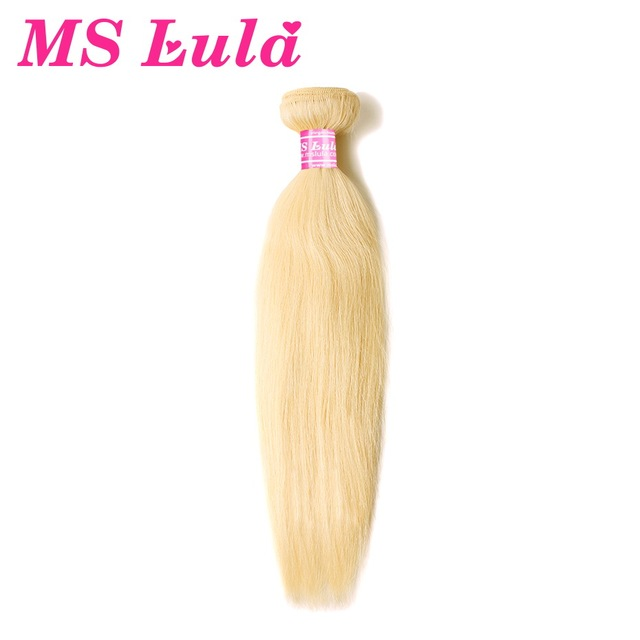 MS Lula Blonde Brazilian Hair Bundles Straight 100% Human Hair 1 Bundle Color 613 Remy Hair Weave Double Weft Free Shipping