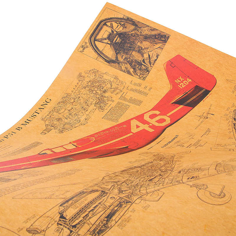 DLKKLB Mustang Fighter strukturalny Vintage plakat Retro Design rysunki Bar Cafe Kraft papierowy Mural dekoracja ścienna naklejka