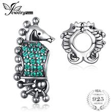 JewelryPalace 925 Sterling Silver Green Cubic Zirconia Sea Horse Charm Beads Fit pulseras nueva oferta para mujeres