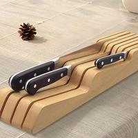 Beech Wood Kitchen Knife Wood Holder Block Storage Rack Organizer Tool