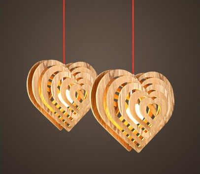 Wood Lamp Restaurant Bedroom Living Room Pendant Light LED Romantic Heart shape Retro Creative OAK Wooden Luminaire Fixtures protective silicone case for xbox one green