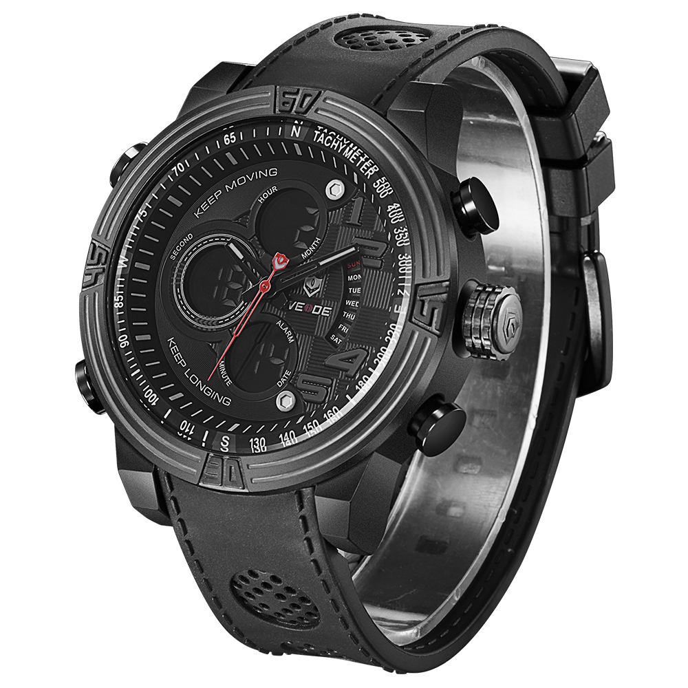 ФОТО WEIDE  Famous Business Black  Watch for Men Running Outdoor Sports Quartz Watch Military Army Water Resistant