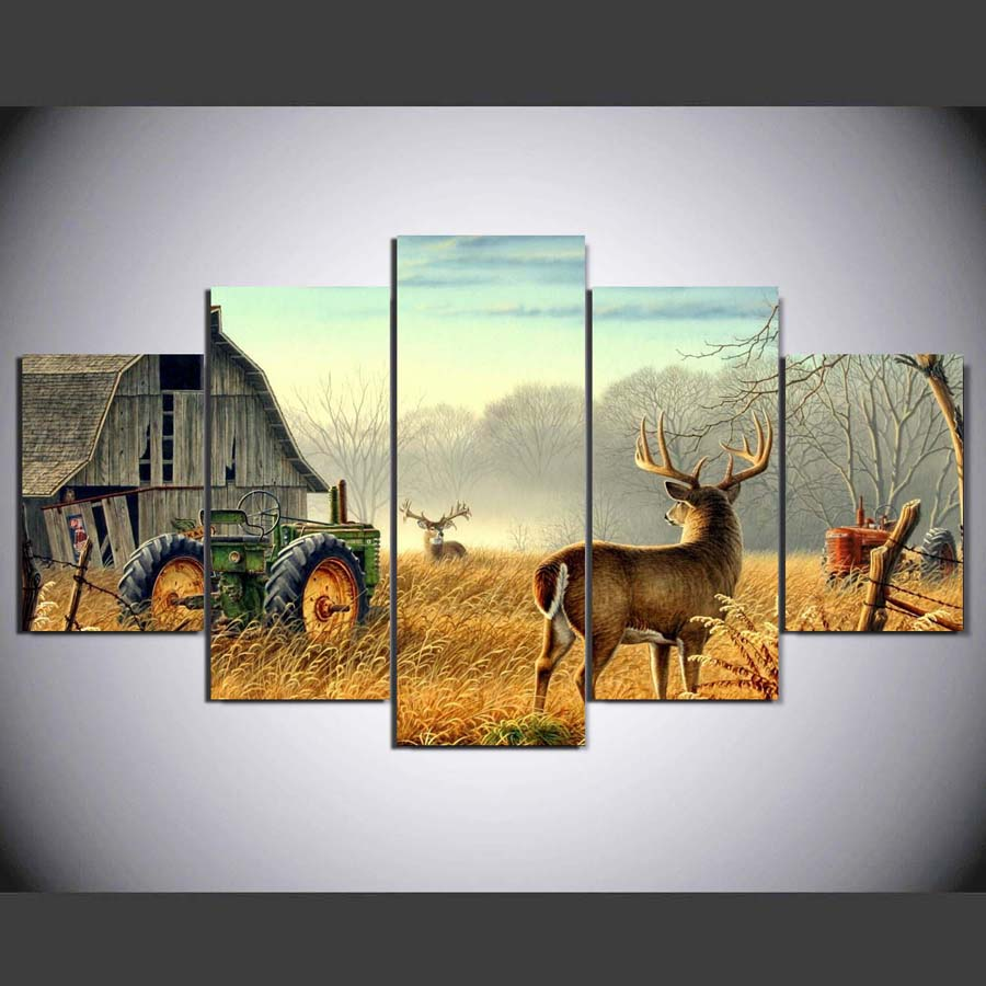 5 Piece Canvas Animal Whitetail Deers On Farm Wood House Tractor Canvas Picture Painting Decor Print Poster Wall Art Wd-1920 #2