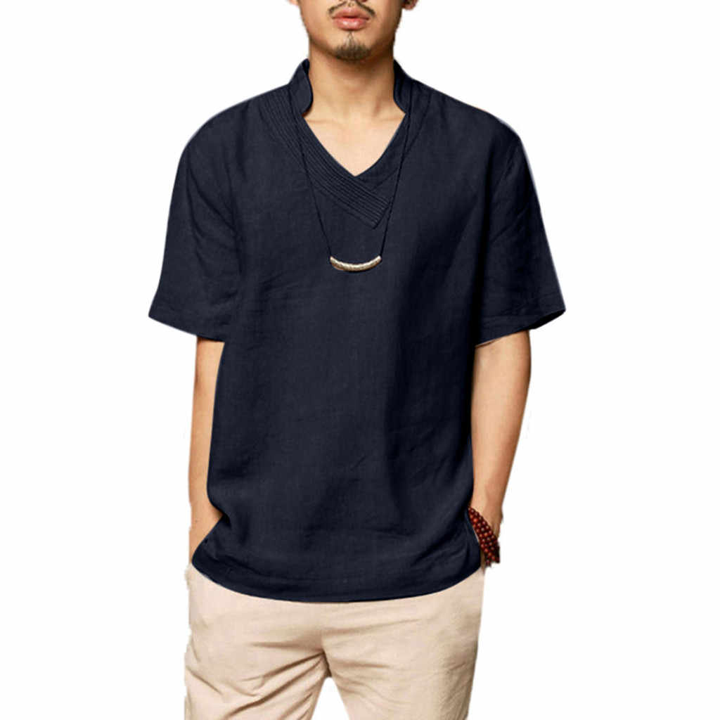 夏メンズカジュアルリネンコットン半袖シャツカーキプルオーバーカジュアルシャツシンプルかつ寛大なファッションカミーサ chemis