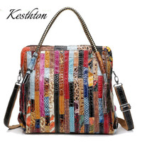 Kesthton serpentine women handbags genuine leather large tote bags striped patchwork women shoulder bags for 2019 crossbody bags
