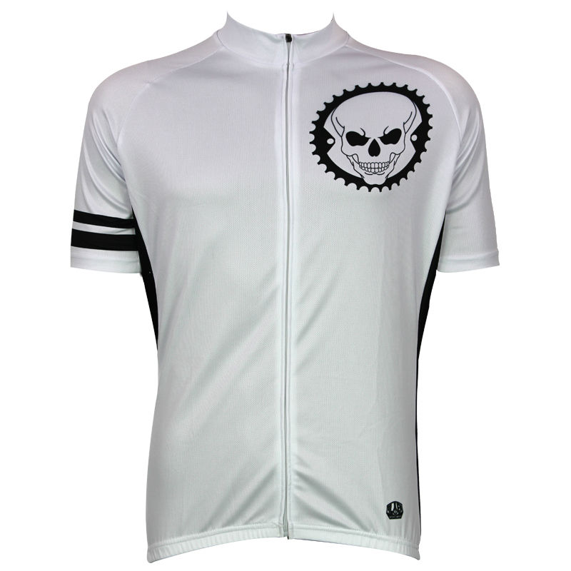 Cycling shirt bike equipment White Skull Pattern Bike Jerseys Men Full Zipper top Sleeve Cycling Clothes bike Size XS-5XL ILPALA 2016 new men s cycling jerseys top sleeve blue and white waves bicycle shirt white bike top breathable cycling top ilpaladin