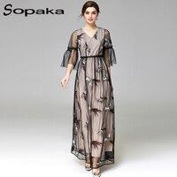 SOPAKA High Quality Lanon Bird Embroidery Black And White Floor Length Empire V Neck Runway Maxi