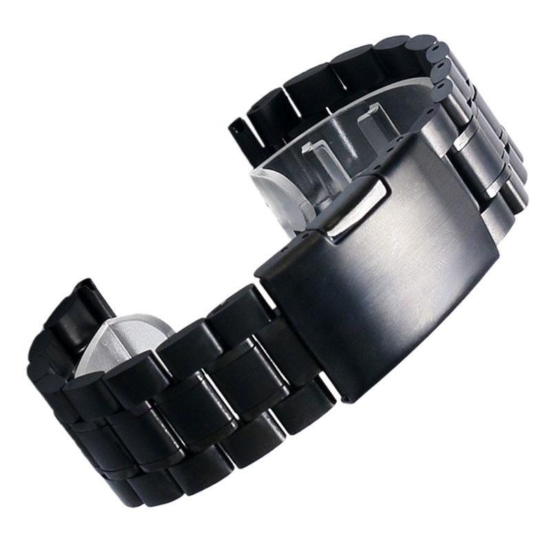 Prix pour Noir Nouveau Hommes Noir En Acier Inoxydable Bande de Montre De Courroie En Métal Bracelets Pour Hommes Montres Bracelet de Rechange + 2 Printemps Bar