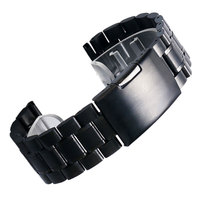 Black New Mens Black Stainless Steel Watch Band Metal Bracelets For Men Wrist Watches