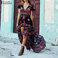 Mujeres largo maxi dress 2017 verano de boho de las señoras sexy escote en v estampado floral vestidos de partido ocasional de la vendimia larga túnica vestidos plus tamaño