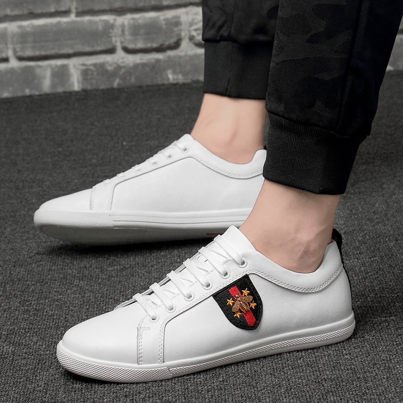 2019 new spring fashion men 39 s shoes casual genuine leather black white big size 12 shoe man young student platform shoes for men in Men 39 s Casual Shoes from Shoes