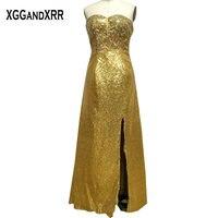 Gold Sequin Side Split Prom Dress 2017 Sweetheart Crystal Off Shoulder Vestido De Festa Lace Up Backless Floor Length Prom Gowns