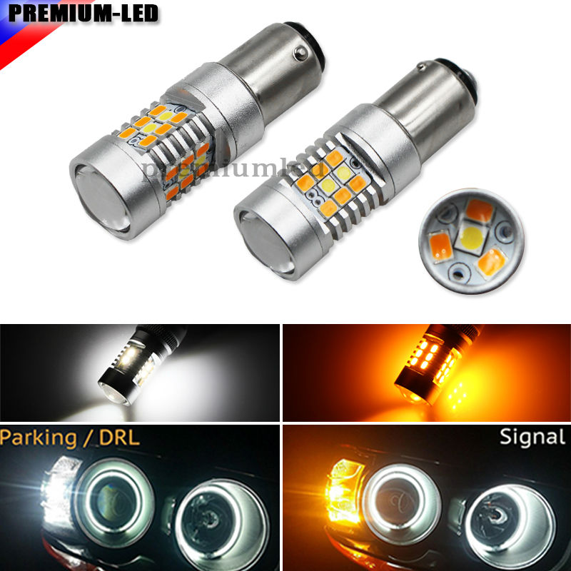 iJDM High Power 28-SMD 1157 Dual-Color Switchback LED Bulbs For Front Turn Signal (7-White 21-Amber)