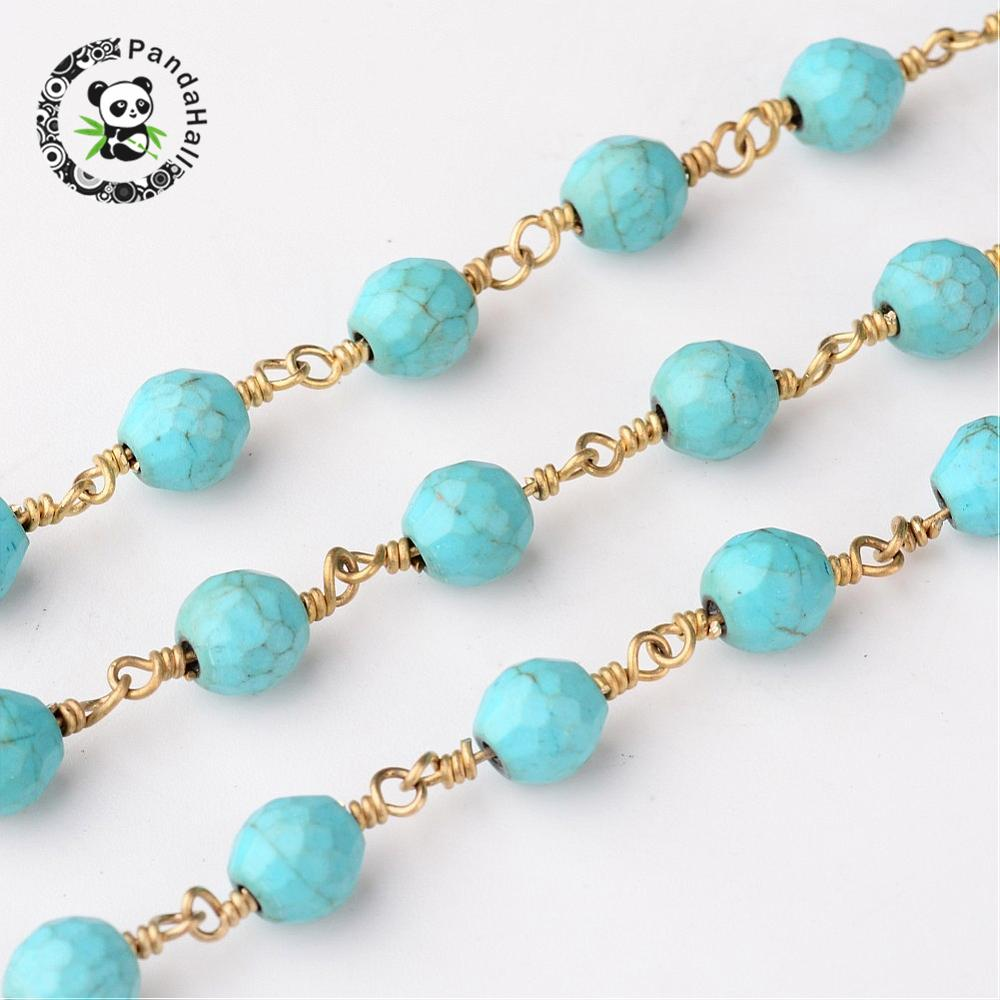 Handmade Synthetic Turquoise Beaded Chains, wtih Brass Findings, Golden, 16x6mm; about 10m/roll
