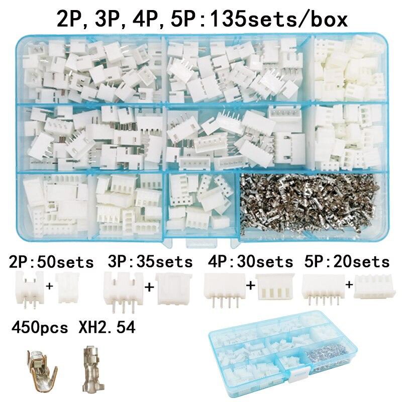 135 sets/box terno 2 p 3 P 4 P 5 P pin 2.54mm XH2.54 conector ...