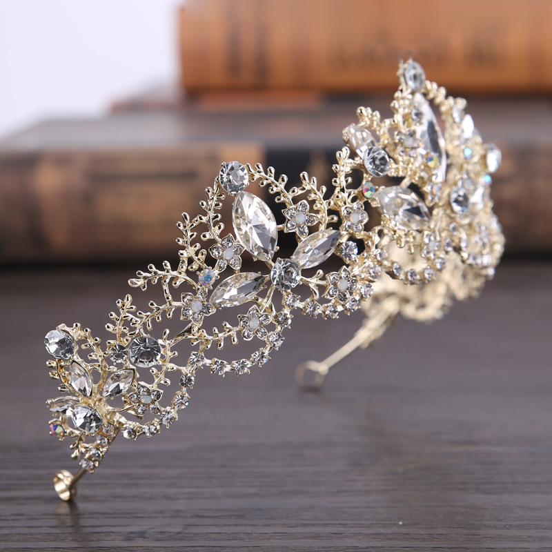 New Fashion Baroque Luxury Crystal AB Bridal Crown Tiaras Light Gold Diadem Tiaras for Women Bride Wedding Hair Accessories 4