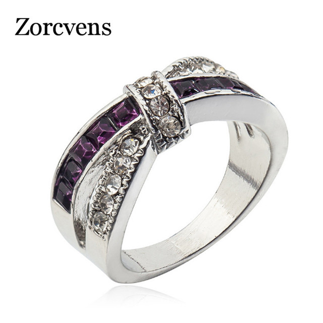 ZORCVENS Female Purple Cross Ring Fashion White Black Gold Filled Jewelry Vintage Wedding Rings For