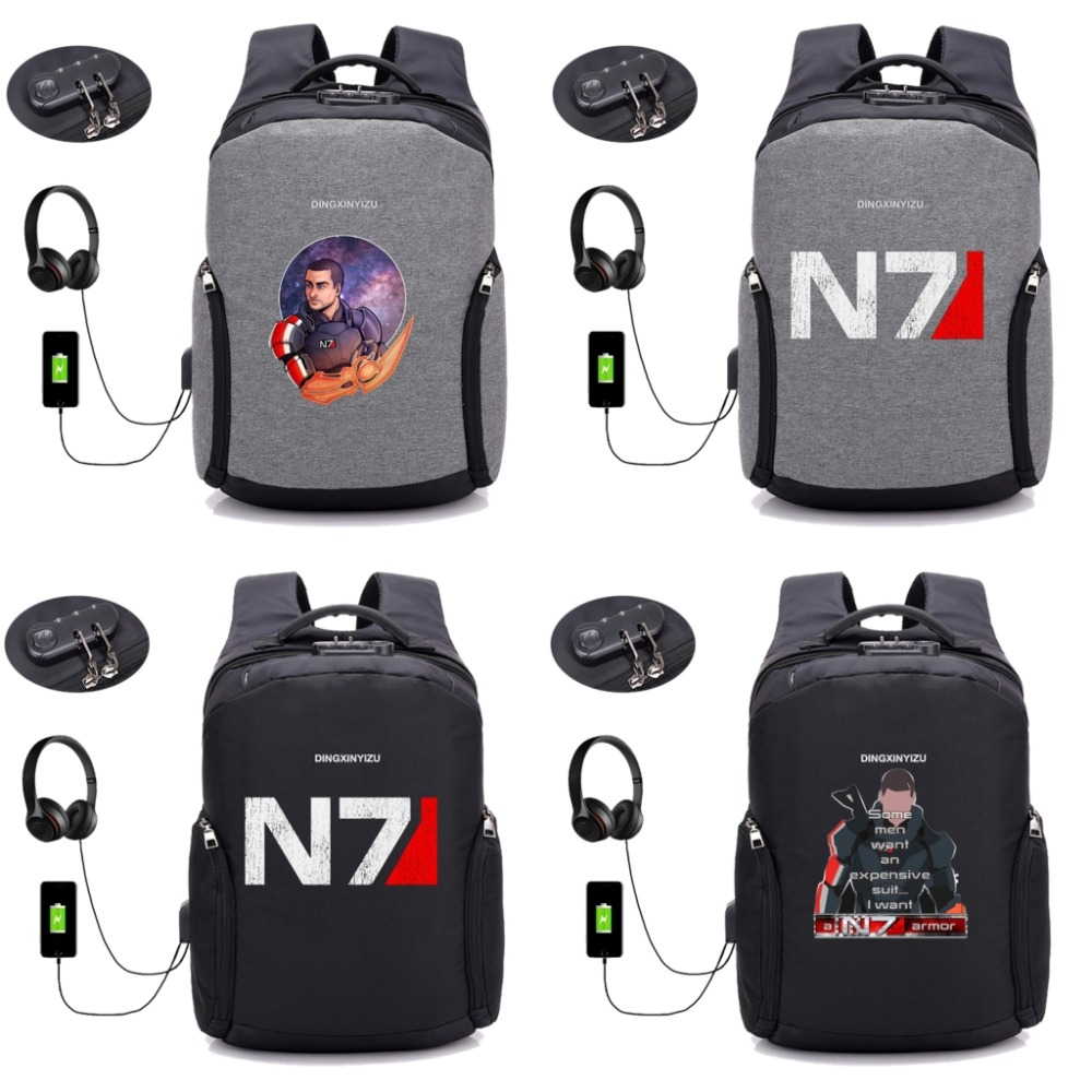 Game Mass Effect USB anti-theft travel laptop backpack notebook computer shoulder bag college students package backpack 8 styleGame Mass Effect USB anti-theft travel laptop backpack notebook computer shoulder bag college students package backpack 8 style