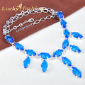 Fashion Latest Style Jewelry Accessories Woman Colar Rhombus Blue Created Topaz Crystal Silver Plated Chain Statement Necklace
