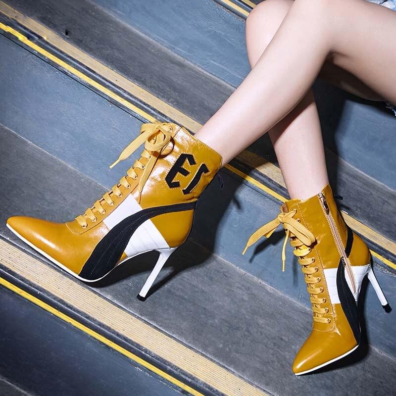 Pointu Cheville Talon orange Haute Chaussures De Noir Sexy Bottes Couleur Bout Mode Piste blanc Femme Mélangée sQhtCrdx