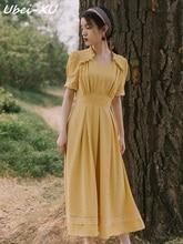 Ubei new 2019 summer sweet dress super-fairy swish holiday yellow fashion Mid-long women
