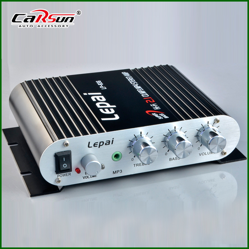 Black/Silver New 2.1 3 Channel Stereo Mini Computer Audio Car Amplifier Subwoofer Out Amplifiers Lepai LP-838 Amplifier