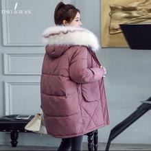 PinkyIsBlack 2019 Women Winter Jacket Fur Hooded Warm Coat Plus Size Cotton Padded Jacket Female Long Parka Women Wadded Jaqueta цена
