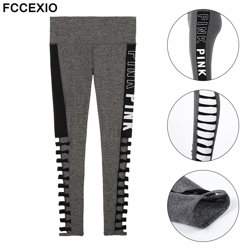 FCCEXIO New Summer Love Pink Letter Print Workout   Leggings   Women High Waist Slim PINK Slim Fitness   Legging   Sporting   Leggings