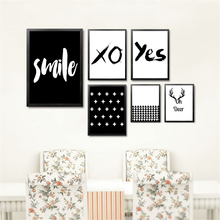 Smile Yes Deer Black White English Letters Wall Art Canvas Painting Print Poster HD2106