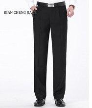 3fe2f5eeed249 Moda męska spodnie wizytowe Solid Business Casual Slim Fit Pantalon  Wysokiej jakości miękkie Klasyczny Czarny Garnitur. 3 dostępne kolory