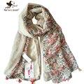 Novas Mulheres Design de Moda Bandana Bonito Estampado Floral Lenço de Algodão Senhoras Outono Inverno Longo Xales e Wraps Meninas Flor Foulard
