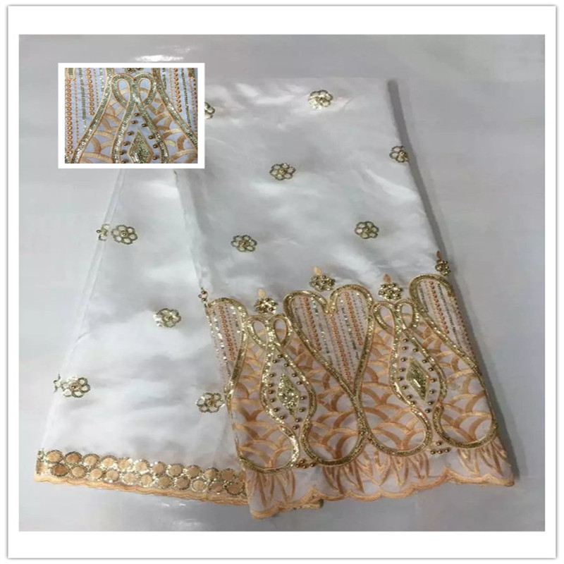 Wholesale Price!! White Indian Lace Fabric High Quality African George Fabric 2017 Fashion Sequins For Royal Bule Party Dress