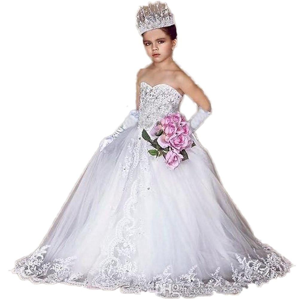 2019   Flower     Girl     Dresses   Appliques Tulle Beading Ball Gown Handmade Bow Floor Length Long Train For   Girls   Wedding