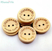 50pcs/a pack Wood Handmade Love Buttons DIY Crafts Clothing Sewing Accessories