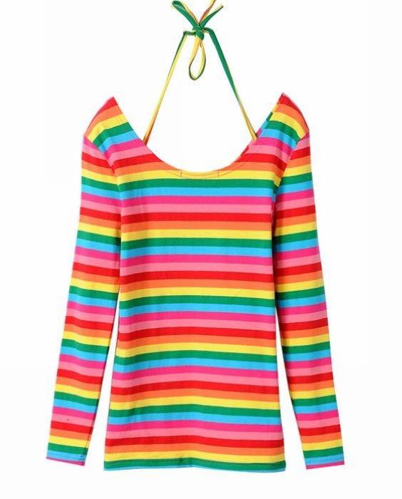 M,L,XL,XXL Rainbow Stripe Halter Hanging Neck Tshirt for Women Long Sleeve Fashion Tops Tee Free Shipping yn430